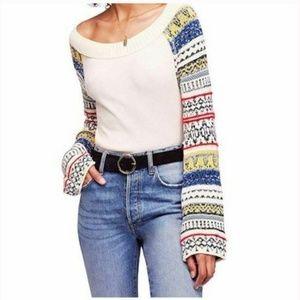 Free People XS Ivory Fairground Sweater 3Y51